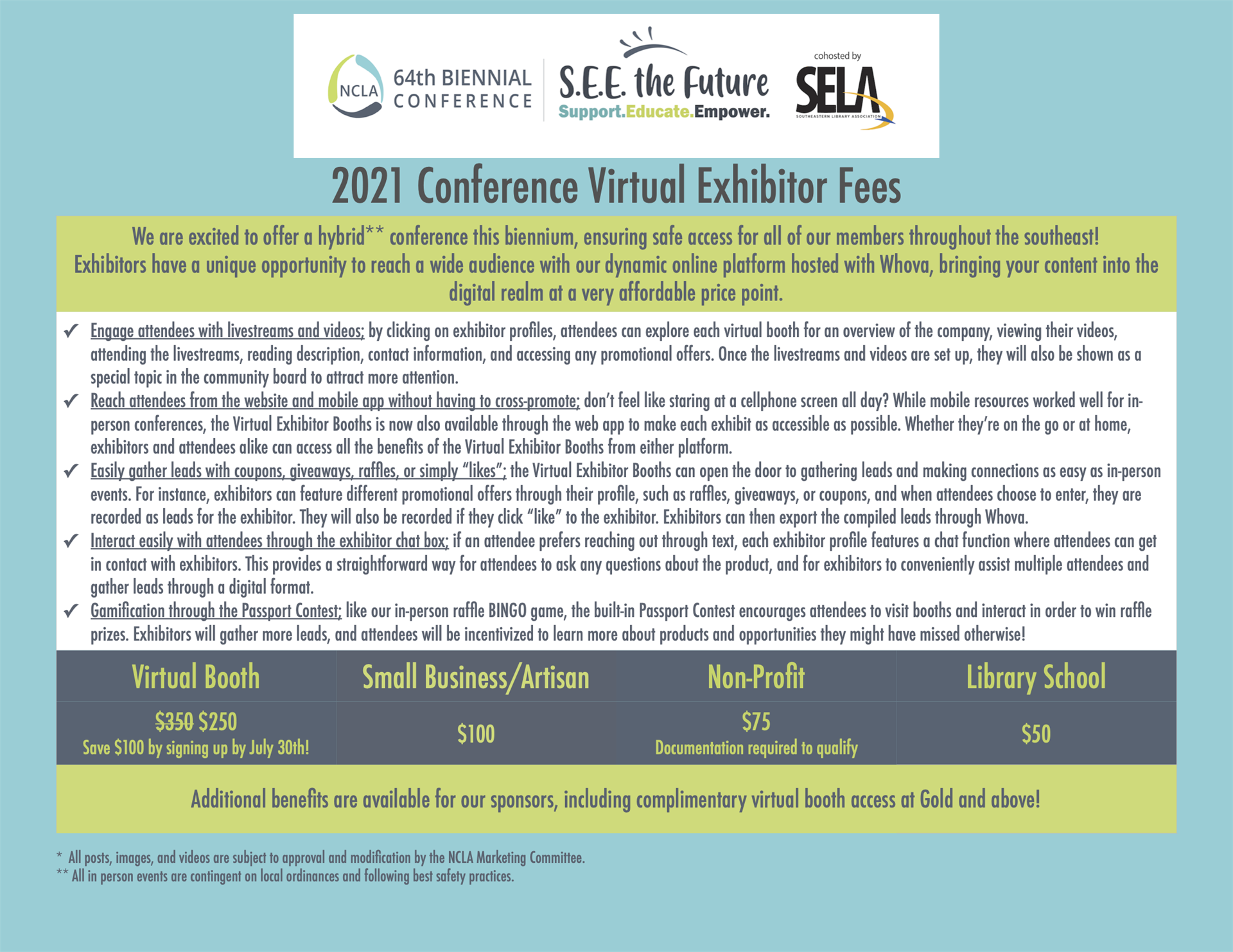 table of exhibitor fees